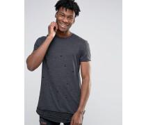 Superlanges T-Shirt in Distress-Optik und gestreifter Saumverlängerung Grau
