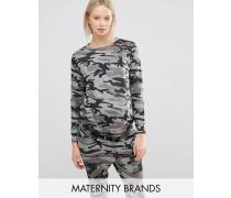 New Look Mode für Schwangere Pullover mit Tarnmuster Grün
