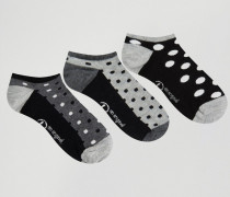 Gepunktete Sneakersocken im 3er-Pack Schwarz