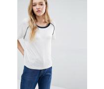 Retro-T-Shirt mit Kontrastpaspelierung Grau