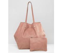 Weiche Shopper-Tasche mit abnehmbarer Clutch Rosa