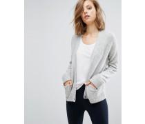 Strickjacke aus Wollmischung mit Taschen Grau
