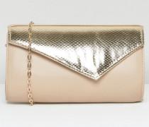 Kinga Umschlag-Clutch mit Kontrastdesign Beige