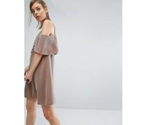 Doppellagiges, schulterfreies Minikleid aus Samt Braun