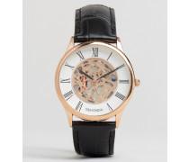 Exklusiv bei ASOS Armbanduhr mit sichtbarem, mechanischem Uhrwerk, schwarzes Leder mit Zifferblatt in Gold Schwarz