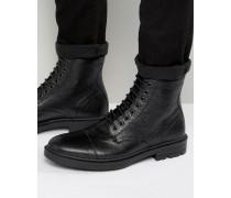 Schwarze Schnürstiefel aus Scotchgrain-Leder mit Zehenkappe Schwarz