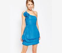 Kleid mit einem Träger und Rüschen Blau