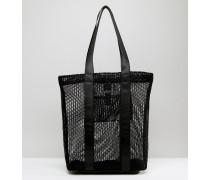 LIFESTYLE Shopper-Tasche mit Netz- und Webeinsätzen Schwarz