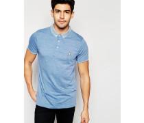 Gestricktes Polohemd mit Kontrastkragen Blau