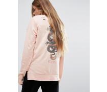 Überdimensioniertes Sweat-T-Shirt mit langen Ärmeln und Drachenprint hinten Rosa
