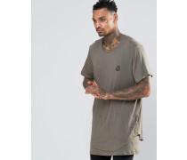 Lang geschnittenes T-Shirt mit abfallendem Saum Grün