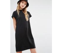 Hochgeschlossenes T-Shirt-Kleid Schwarz