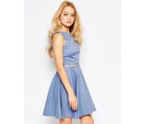 Closet Jacquard-Skaterkleid mit Gürtel Blau