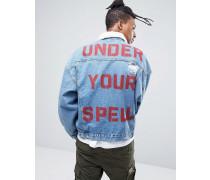 Jeansjacke in Oversize mit Print am Rücken und Borg-Kragen in mittlerer Waschung Blau