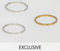 Bevelled Ringe im 3er-Pack Mehrfarbig