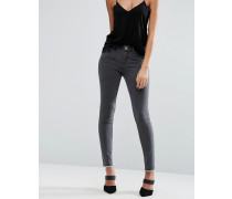 LISBON Graue Jeans mit mittelhohem Bund und Reißverschluss am Saum hinten Grau