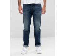 Buster 857Y Gerade geschnittene Jeans in Mid-Vintage-Waschung Blau