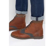 Budapester-Stiefel aus Leder und Wolle Braun