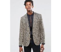 Schmal geschnittene Anzugjacke aus Rayon mit Leopardenmuster Bronze