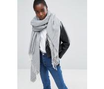 Oversize-Schal mit Quasten und Fischgrätmuster Grau