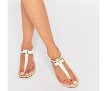 Flache Sandalen mit Schleife vorne Weiß
