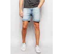 Enge Strandjeansshorts in Blue Beat Light Wash Blau