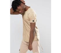 T-Shirt mit Schnürung an den Seiten und Used-Look Beige