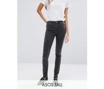 Lisbon Graue Jeans mit mittelhohem Bund und Saumreißverschluss hinten Grau