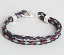 Alasdair Geflochtenes, mehrreihiges Armband Rot