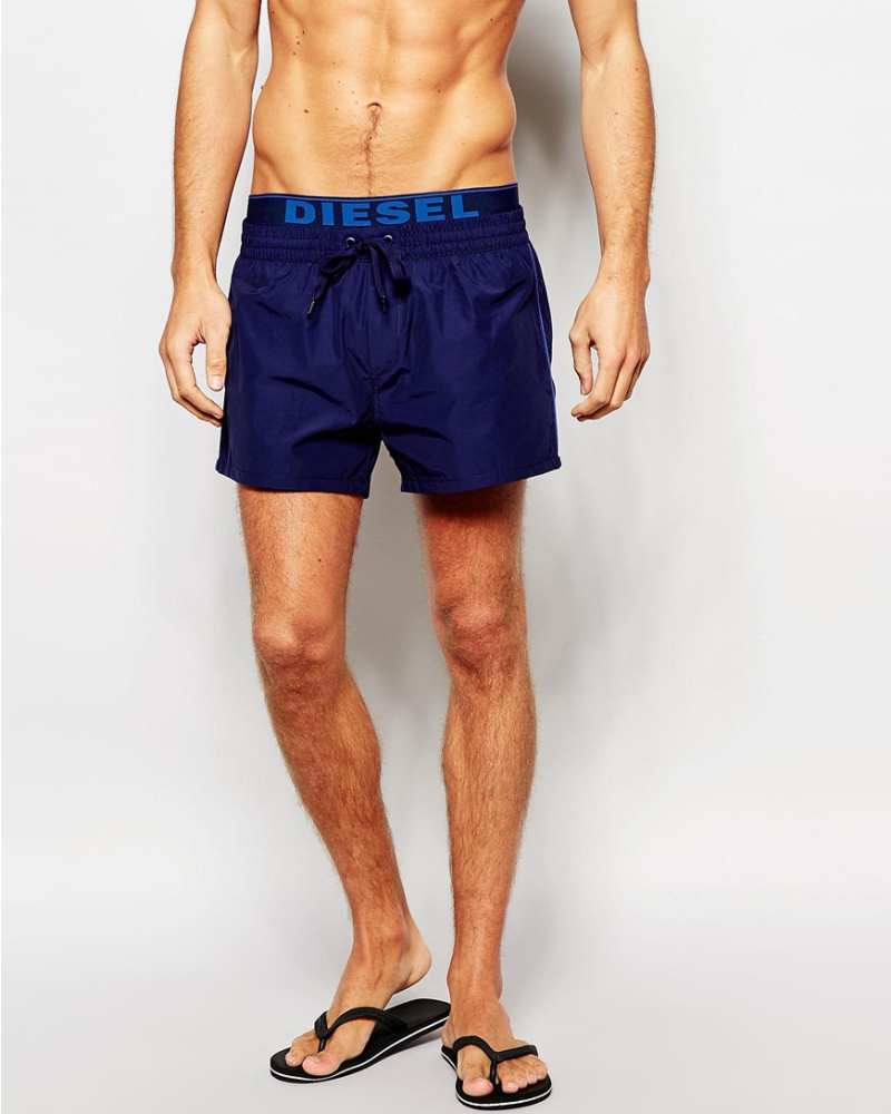 diesel herren badeshorts mit logo am bund marineblau 49 reduziert. Black Bedroom Furniture Sets. Home Design Ideas