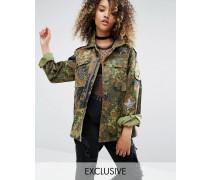 Vintage Military-Jacke mit Paillettenaufnähern Grün