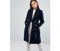 Mantel mit Knöpfen im Military-Stil Marineblau
