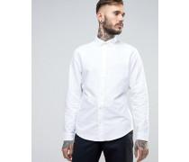 Schmales, weißes Oxford-Hemd mit Buttondown-Kragen und farblich passendem Logo Weiß