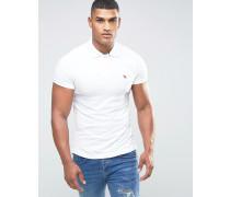 Schmal geschnittenes Polohemd in Weiß Weiß
