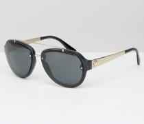 Pilotensonnenbrille in Schwarz mit goldener Verzierung Schwarz