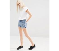 Mom-Shorts mit hohem Bund und gerolltem Saum Blau