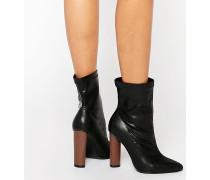 Stiefel mit Kontrastabsatz Schwarz