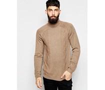 Rollkragen-Pullover mit Zopfmuster aus Merino-Wollmischung Braun