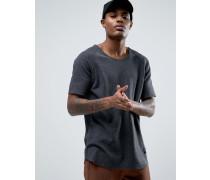 Locker geschnittenes Waffelstrick-T-Shirt in Anthrazit Grau