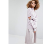 Pullover aus Mohairwolle mit Flügelärmeln Violett