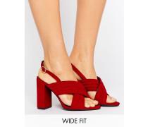Sandalen in Wildlederoptik mit Absatz und überkreuzten Riemen Rot