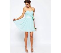 WEDDING Kurzes Bandeau-Kleid aus Chiffon mit abnehmbarem Blumengürtel Blau