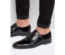 Mönchsschuhe aus schwarzem Leder mit Nieten Schwarz