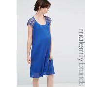 Mamalicious Schwingendes Kleid mit Spitze Blau