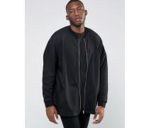 Extreme Oversize-Bomberjacke aus schwarzem Jersey Schwarz