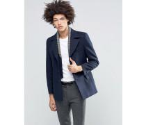 Premium-Cabanjacke mit abnehmbarem, geometrisch gemustertem Strickeinsatz Marineblau