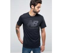 Klassisches schwarzes T-Shirt mit Logo, MT63554_BK Schwarz