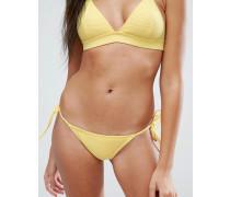 Mix and Match Brasilianische gerippte Bikinihose und seitlichen Bändern Gelb