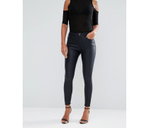 Schmale Jeans mit Beschichtung Schwarz