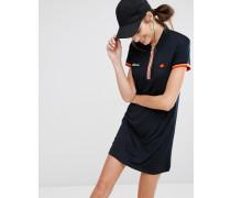 Kleid mit halblangem Reißverschluss und gewebten Aufnähern Schwarz